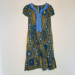 African Print Blue & Gold Fit and Flare Dress (M)
